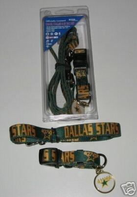 Dallas Stars Pet Dog Leash Set Collar ID Tag Gift Size Medium
