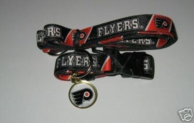 Philadelphia Flyers Pet Dog Leash Set Collar ID Tag Medium