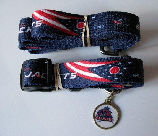 Columbus Blue Jackets Pet Dog Leash Set Collar ID Tag Gift Size Large