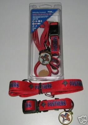 Florida Panthers Pet Dog Leash Set Collar ID Tag Gift Size Large