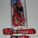New Jersey Devils Pet Dog Leash Set Collar ID Tag Large