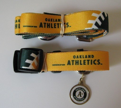 Oakland A's Athletics Pet Dog Leash Set Collar ID Tag Small