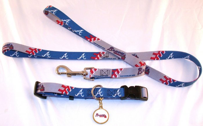 Atlanta Braves Pet Dog Leash Set Collar ID Tag Medium