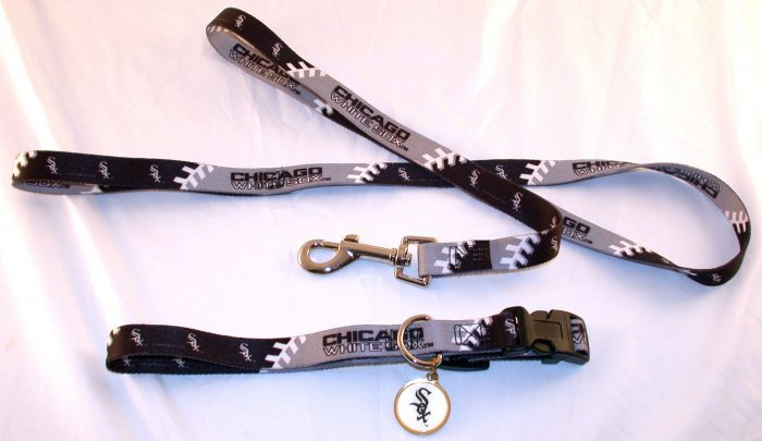 Chicago White Sox Pet Dog Leash Set Collar ID Tag Medium
