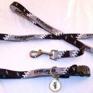 Chicago White Sox Pet Dog Leash Set Collar ID Tag Medium