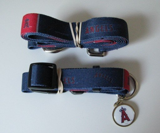 Los Angeles Angels Pet Dog Leash Set Collar ID Tag Gift Size Medium