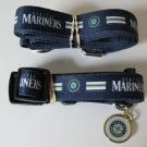 Seattle Mariners Pet Dog Leash Set Collar ID Tag Gift Size Medium