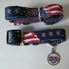 Washington Nationals Pet Dog Leash Set Collar ID Tag Gift Size Medium