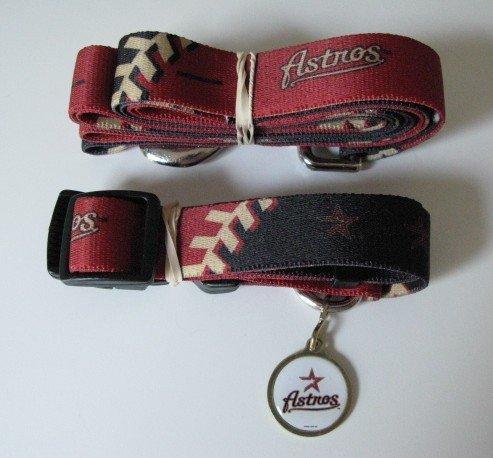 Houston Astros Pet Dog Leash Set Collar ID Tag Gift Size Large
