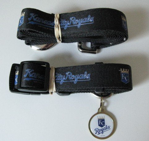 Kansas City Royals Pet Dog Leash Set Collar ID Tag Gift Size Large