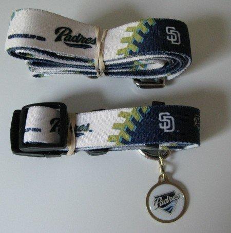 San Diego Padres Pet Dog Leash Set Collar ID Tag Large