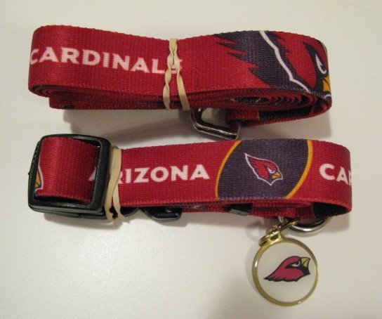 Arizona Cardinals Pet Dog Leash Set Collar ID Tag Medium