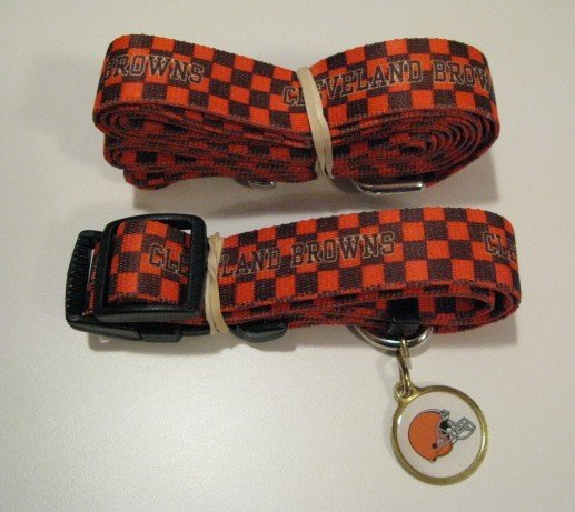 Cleveland Browns Pet Dog Leash Set Collar ID Tag Gift Size Small