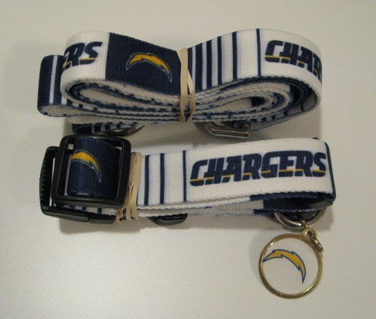 San Diego Chargers Pet Dog Leash Set Collar ID Tag Small