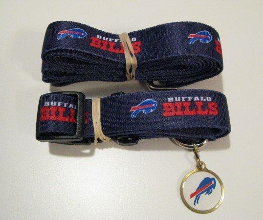 Buffalo Bills Pet Dog Leash Set Collar ID Tag Medium