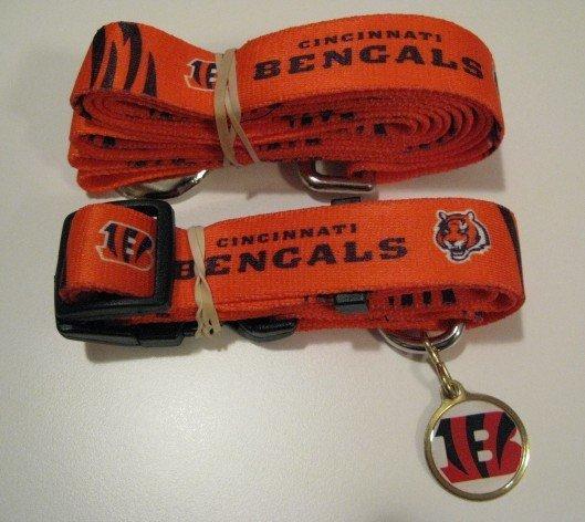 Cincinnati Bengals Pet Dog Leash Set Collar ID Tag Gift Size Medium