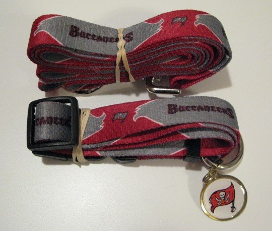 Tampa Bay Buccaneers Pet Dog Leash Set Collar ID Tag Gift Size Medium