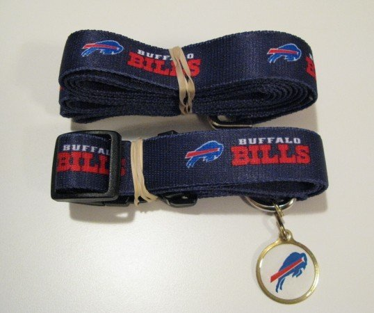 Buffalo Bills Pet Dog Leash Set Collar ID Tag Gift Size Large
