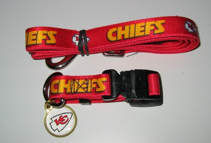 Kansas City Chiefs Pet Dog Leash Set Collar ID Tag Gift Size Large