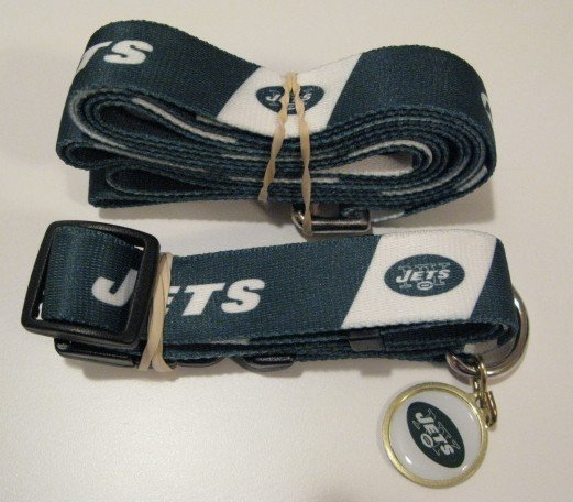 New York Jets Pet Dog Leash Set Collar ID Tag Large