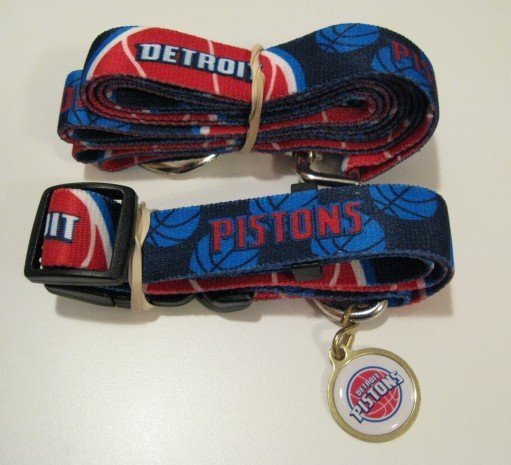 Detroit Pistons Pet Dog Leash Set Collar ID Tag Gift Size Small
