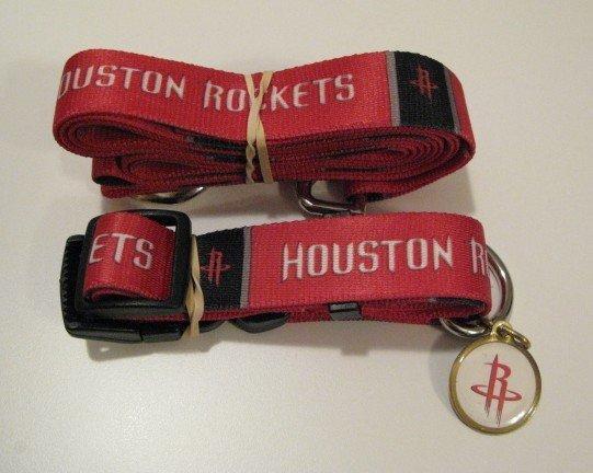 Houston Rockets Pet Dog Leash Set Collar ID Tag Gift Size Small
