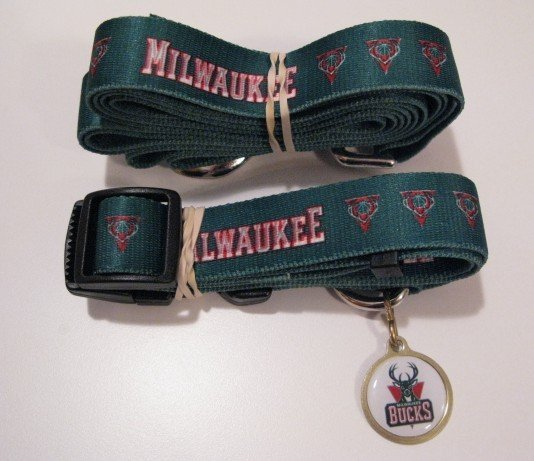 Milwaukee Bucks Pet Dog Leash Set Collar ID Tag Gift Size Small