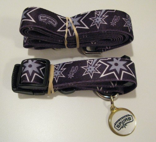 San Antonio Spurs Pet Dog Leash Set Collar ID Tag Gift Size Small