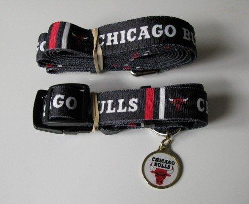 Chicago Bulls Pet Dog Leash Set Collar ID Tag Gift Size Medium