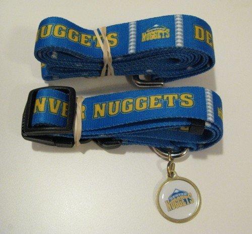 Denver Nuggets Pet Dog Leash Set Collar ID Tag Gift Size Medium