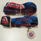 Detroit Pistons Pet Dog Leash Set Collar ID Tag Gift Size Medium