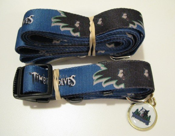 Minnesota Timberwolves Pet Dog Leash Set Collar ID Tag Gift Size Medium