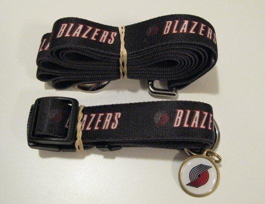 Portland Trail Blazers Pet Dog Leash Set Collar ID Tag Gift Size Medium