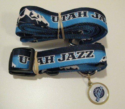 Utah Jazz Pet Dog Leash Set Collar ID Tag Gift Size Medium