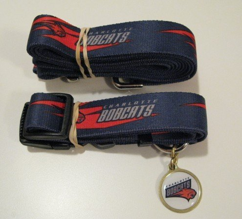 Charlotte Bobcats Pet Dog Leash Set Collar ID Tag Gift Size Large