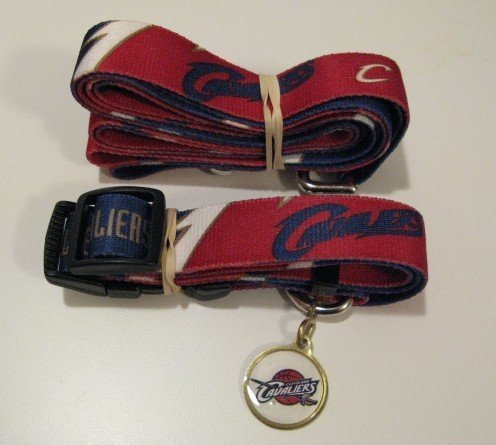Cleveland Cavaliers Pet Dog Leash Set Collar ID Tag Gift Size Large