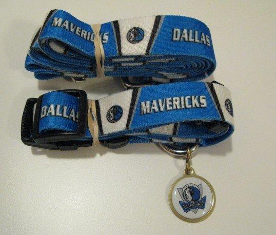 Dallas Mavericks Pet Dog Leash Set Collar ID Tag Gift Size Large