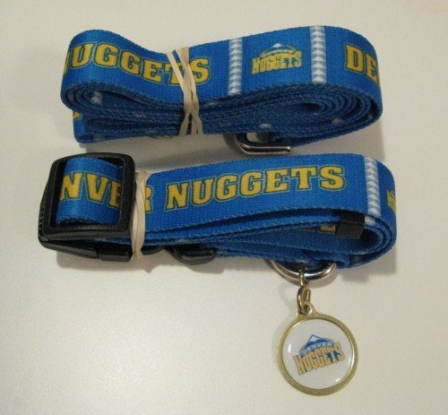 Denver Nuggets Pet Dog Leash Set Collar ID Tag Gift Size Large