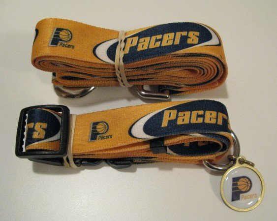 Indiana Pacers Pet Dog Leash Set Collar ID Tag Gift Size Large