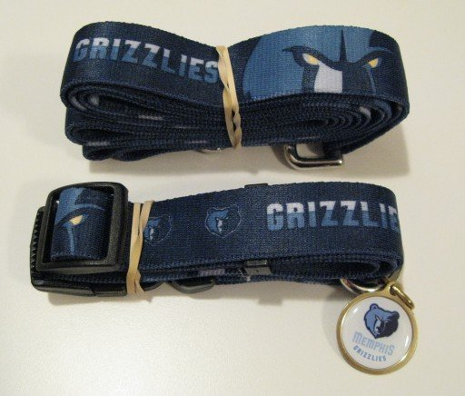 Memphis Grizzlies Pet Dog Leash Set Collar ID Tag Gift Size Large