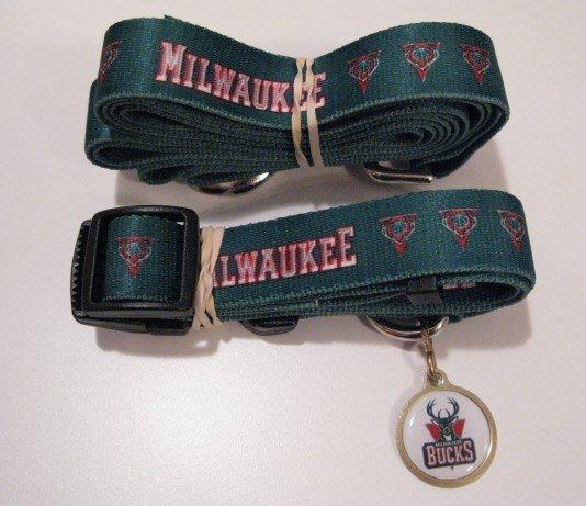 Milwaukee Bucks Pet Dog Leash Set Collar ID Tag Gift Size Large