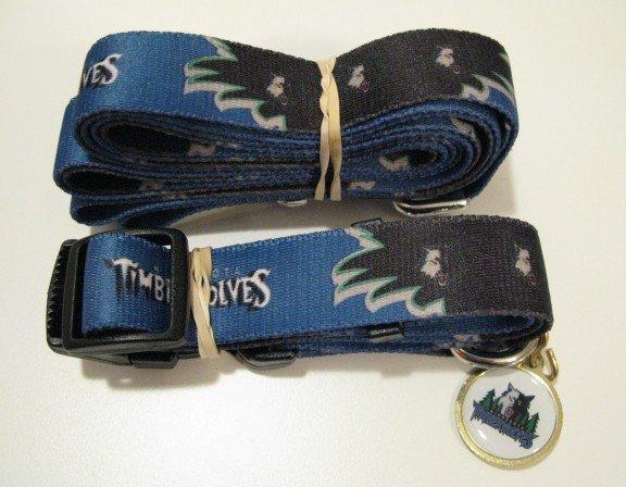 Minnesota Timberwolves Pet Dog Leash Set Collar ID Tag Gift Size Large