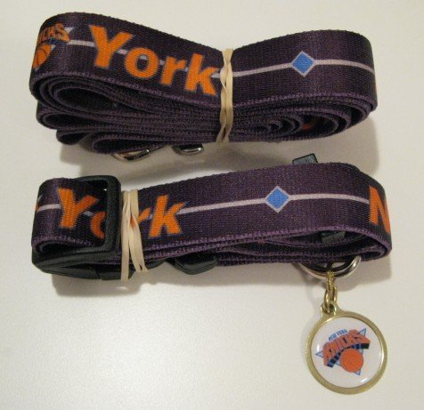 New York Knicks Pet Dog Leash Set Collar ID Tag Gift Size Large