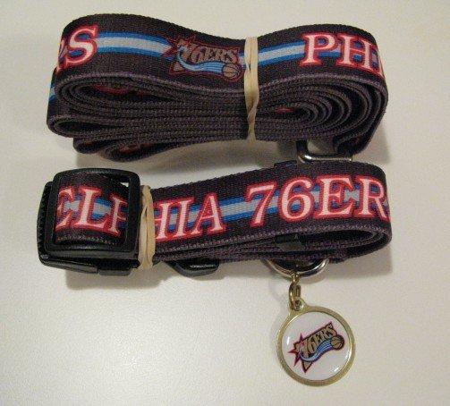Philadelphia 76ers Pet Dog Leash Set Collar ID Tag Gift Size Large