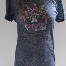New York Rangers Ice It Crystals Women's Burnout Shirt Tee Medium