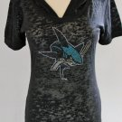 San Jose Sharks Ice It Crystals Women's Sheer Burnout Short-Sleeve Hoodie XL