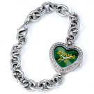 Dallas Stars Game Time Stainless Steel Rhinestone Ladies Heart Watch