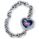 Montreal Canadiens Game Time Stainless Steel Rhinestone Ladies Heart Watch