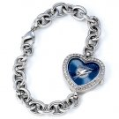 Tampa Bay Lightning Game Time Stainless Steel Rhinestone Ladies Heart Watch