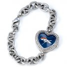 Denver Broncos Game Time Stainless Steel Rhinestone Ladies Heart Watch